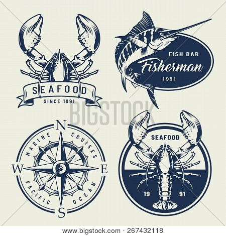 Vintage Sea Emblems Collection With Lobsters Swordfish Compass In Monochrome Style Isolated Vector I