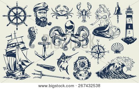 Vintage Monochrome Nautical Elements Set With Sailor Sea Animals Lighthouse Mermaid Ship Diving Helm