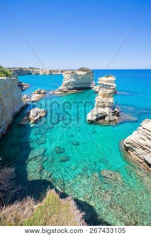Sant Andrea, Apulia, Italy - Erosion Shaped The Coastline Around The Cliffs