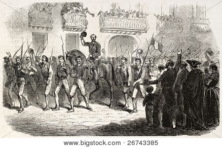Military column of Colonel Medici entering in Palermo. Created by Godefroy-Durand, published on L'Illustration, Journal Universel, Paris, 1860