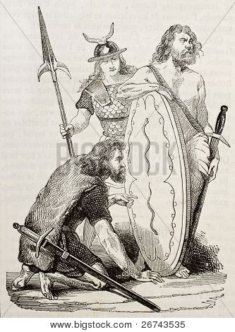 Gaul warriors old illustration. Created by Wattier, published on Magasin Pittoresque, Paris, 1842