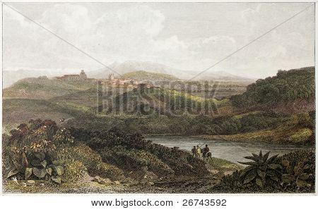 Palma di Montechiaro old view, Sicily. Created by De Wint and Byrne, printed by McQueen, publ. in London, 1821. Ed. on Sicilian Scenery, Rodwell and Martins, London, 1823
