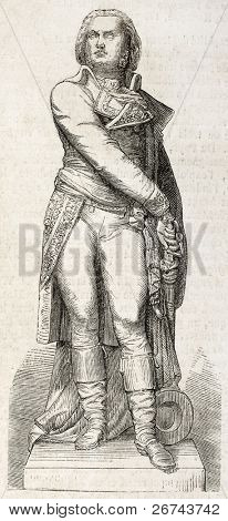 Statue of Marshal Jean-Baptiste Jourdan old illustration, Limoges. Sculpted by By Elias Robert, published on L'Illustration, Journal Universel, Paris, 1860