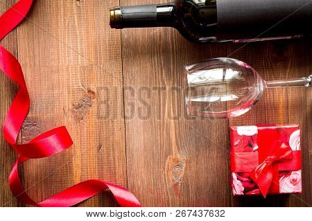 Concept Valentine Day With Wine At Wooden Background Top View