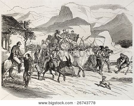 Garibaldian volunteers marching towards Messina, Sicily. Created by Bertall, published on L'Illustration, Journal Universel, Paris, 1860