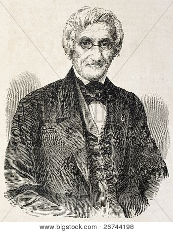 Andre Marie Constant Dumeril old engraved portrait, French zoologist. By unidentified author, published on L'Illustration, Journal Universel, Paris, 1860