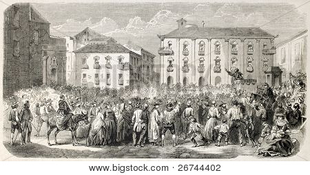 Man haranguing a crowd in Messina, Italy, old illustration. Created by Provost, published on L'Illustration, Journal Universel, Paris, 1860