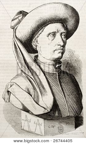 Henry the Navigator, infante of the Kingdom of Portugal. Created by Droz after old miniature, published on Magasin Pittoresque, Paris, 1843
