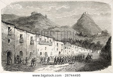 Volunteers departing from Sicily to Calabria, Italy. Created by Gaildrau, published on L'Illustration, Journal Universel, Paris, 1860