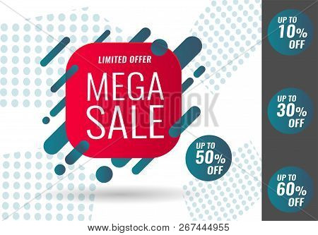 Today Only Mega Sale Banner. Big Super Sale, Flat 50 Off. Vector Illustration, Special Offer, Up To