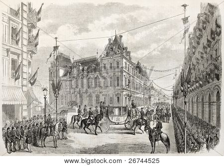 Napoleon III and Empress Eugenie visiting Lyon. Created by Janet-Lange after Marc, published on L'Illustration, Journal Universel, Paris, 1860 poster