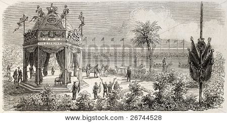 Napoleon III and Empress Eugenie arrival in Toulon, France. Created by Provost after Marc and Bonnet,  published on L'Illustration, Journal Universel, Paris, 1860