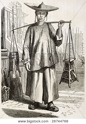 Chinese itinerant barber old illustration. Created by Grandsire, published on L'Illustration, Journal Universel, Paris, 1860