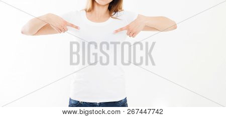 T-shirt Design, People Concept - Closeup Of Young Woman In White Shirt, Front Isolated. Mock Up Temp