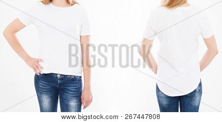 Front And Back Views Of Pretty Woman, Girl In Stylish Tshirt On White Background. Mock Up For Design