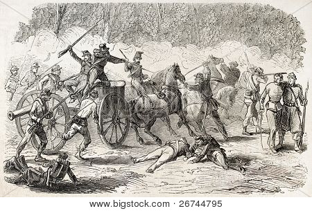 Battle of Volturnus, near Naples, Italy. Created by Gaildrau, published on L'Illustration, Journal Universel, Paris, 1860