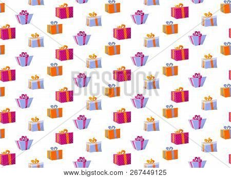 Seamless Pattern With Gift Boxes. Pattern Gift Box For Fabric Print, Wrapping Package Gift Box Paper