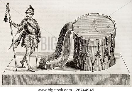 Zizka, Hussite leader, holding medieval flail â?? Ziska skill drum. After Bruckmann, published on Magasin Pittoresque, Paris, 1843 poster
