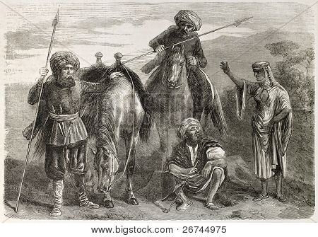 Druzes people old illustration.  By unidentified author, published on L'Illustration, Journal Universel, Paris, 1860