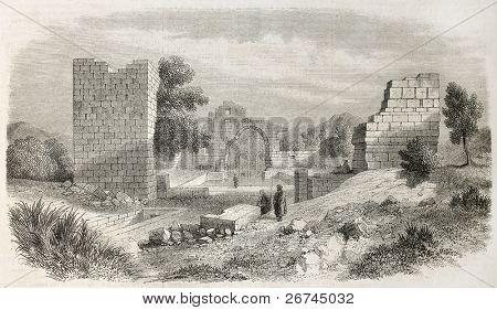 Diugh Kare ruiner gamla Visa, Tunisien. Skapad av Crapelet, publicerade på L'Illustration, Journal Univer