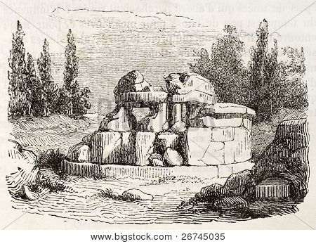 Hypogeum near Cortona old view, Italy: etrurian tomb known as Tanella di Pitagora. By unknown author, published on Magasin Pittoresque, Paris, 1843