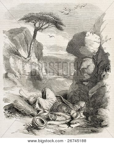 Maronite killed by Druzes along the way between Beirut and Beit Mery. By unidentified author, published on L'Illustration, Journal Universel, Paris, 1860