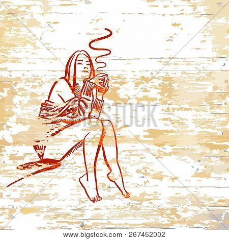 Vintage Girl Drinking Coffee On Wooden Background. Vector Illustration Drawn By Hand.