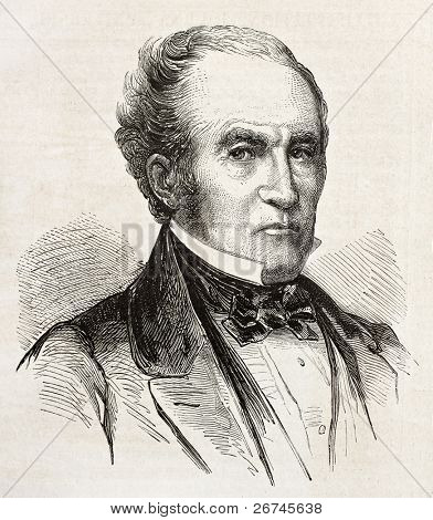 John Bell old engraved portrait, Unionist Presidential candidate in 1861. Created by Bayard, published on L'Illustration, Journal Universel, Paris, 1860