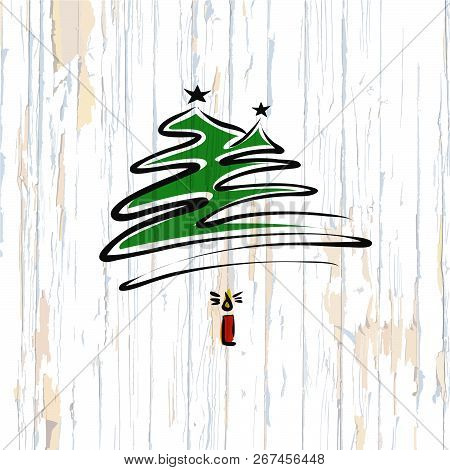 Christmas Tree Calligraphic Sketch On Wooden Background. Vector Illustration Drawn By Hand.