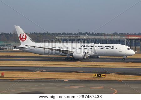 Tokyo, Japan - December 5, 2016: Japan Airlines Boeing 787 Taxiing At Narita Airport Of Tokyo. The A