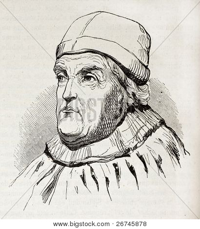 Rene of Anjou, King of Naples, old engraved portrait. After drawing of 15th century, published on Magasin Pittoresque, Paris, 1844 poster