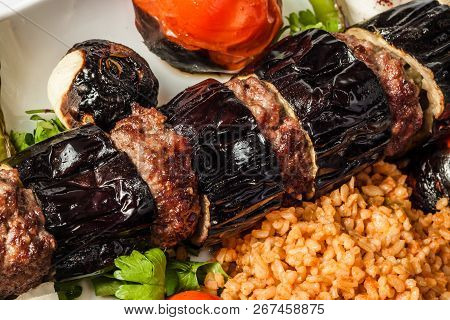Turkish Urfa Kebab With Eggplant And Meatballs