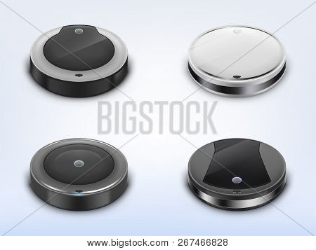 Vector Realistic Set With Robotic Vacuum Cleaners, Smart Round Robots Using For Housework, Isolated