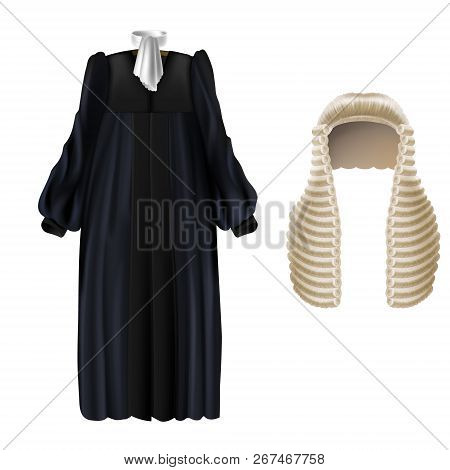 Vector Realistic Black Court Dress With Sleeves, White Wing Collar, Long Wig With Curls Isolated On