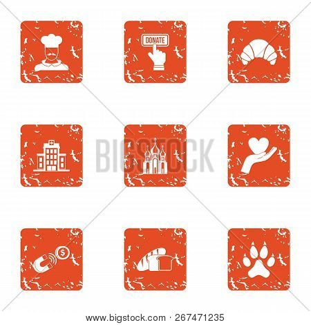 Endowment icons set. Grunge set of 9 endowment vector icons for web isolated on white background poster