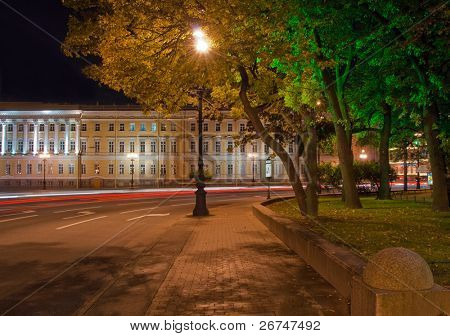 Beautiful night view at Palace Square in Saint Petersburg, Russia