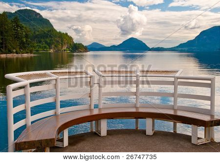 A fragment of pier and bench at Porteau Cove park, Vancouver, Canada.