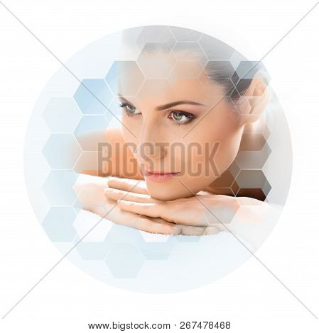 Young And Beautiful Woman In Spa. Collage With Honeycomb Tiles. Healing And Massaging Concept.