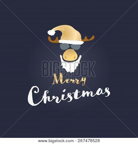 Christmas Time. Reindeer With Sunglasses, Christmas Hat And Bart. Text : Merry Christmas