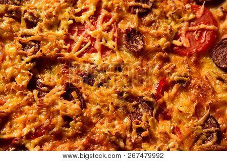 Pizza Background - Macro Shot Delicious Italian Pizza