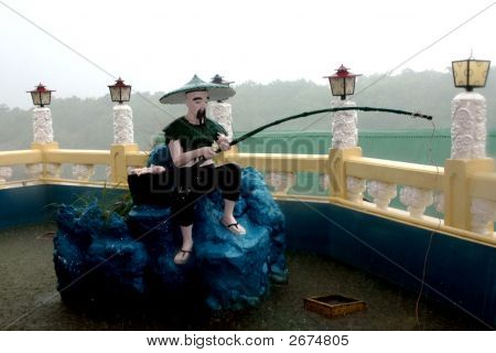 Fisher Man Statue Taoist Temple Cebu In Philippines