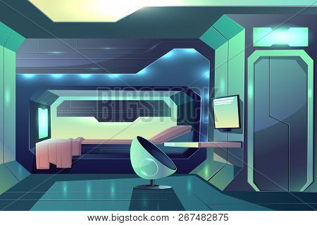 Future spaceship crew member personal cabin minimalistic interior with neon ambient light, bed in sleeping block and futuristic armchair in front of desk with monitor cartoon vector illustration poster