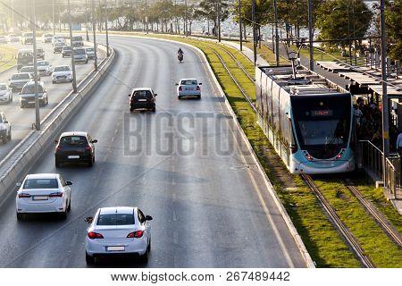 Cars And Tram At Seaside In Izmir (turkey). Izmir, Turkey, 18 September 2018