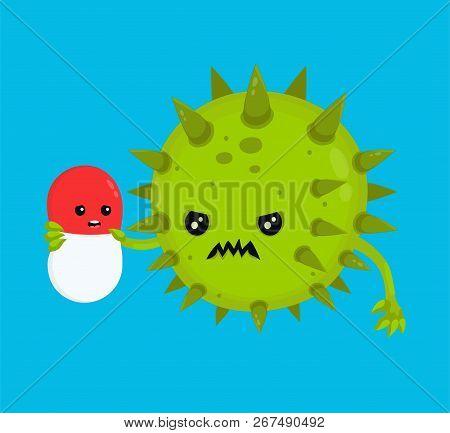 Angry Bad Bacteria Microorganism Virus Kill Antibiotic Pill. Vector Flat Cartoon Character Illustrat