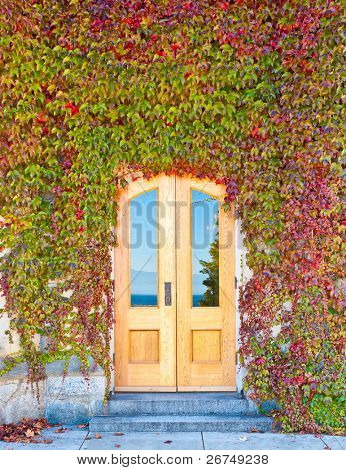 Entrance of an old castle in Victoria, British Columbia.