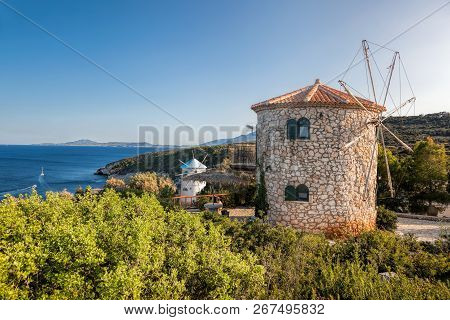 Old Windmills On Skinari, Zakynthos Island, Greece