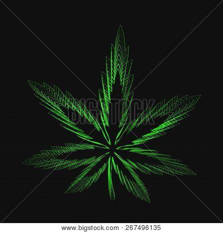 Cannabis Marijuana Hemp Leaf Abstract Print. Vector Illustration Icon Design. Isolated On Black Back