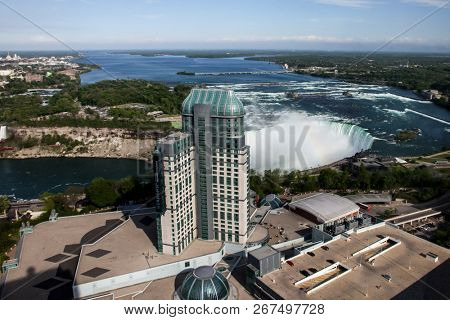 NIAGARA FALLS, CANADA - MAY 27, 2016: Niagara Falls and casino building high view from Canadian side in Niagara Falls on May 27, 2016 in Niagara Falls, Canada.