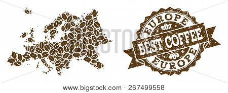Compositions Of Coffee Map Of Europe And Grunge Stamp Seal. Mosaic Vector Map Of Europe Is Designed