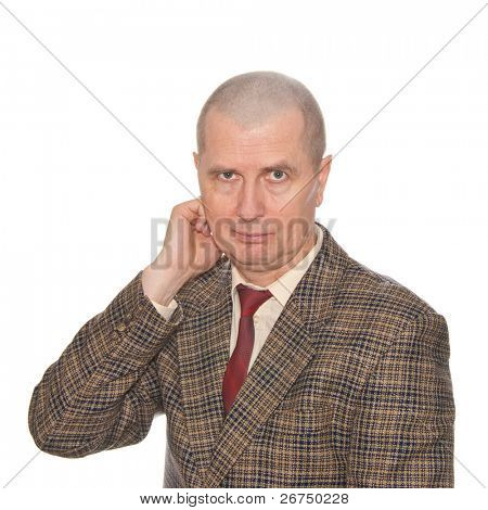 A businessman rubbing his neck. Isolated on white. Body language. Incompliance. noncompliance.